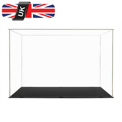 UK Acrylic Clear Plastic Large Display Box 56 x 37 cm Perspex Case Dustproof UV