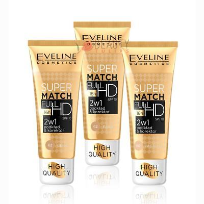 Eveline - Full HD 2-in-1 Foundation and Concealer 30ml Super Match SPF10