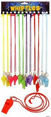 Coloured Plastic Whistle with Neck Cord - Sports Referee Football Rugby Wrist
