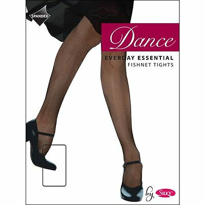Girls Childrens Fishnet Dance Ballet Tights In  Black And Natural Ages 3-13