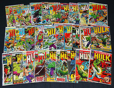 Incredible Hulk Large Lot 29 Issues from #108-200 VG/VFN 1968-up Marvel Comics