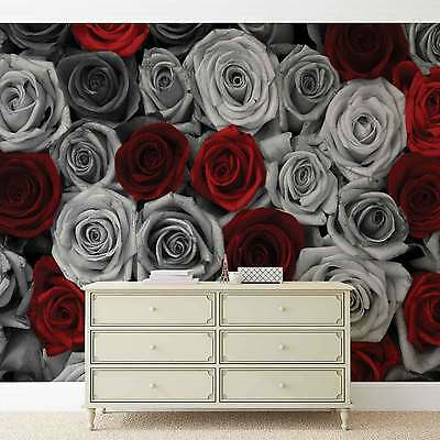 WALL MURAL Red Silver Roses Floral XXL PHOTO WALLPAPER (3100DC)