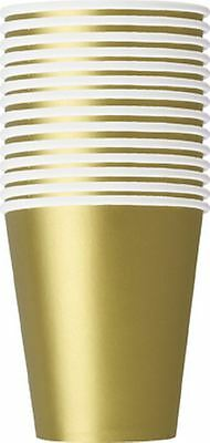14 x PARTY PAPER CUPS PLAIN GOLD COLOUR 266ML/9 OZ TABLEWEAR PARTY CATERING