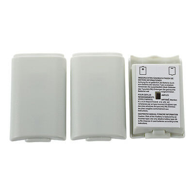 3X Battery Back Cover Shell Pack Part for Xbox 360 Wireless Controller White S*