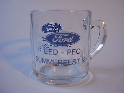 Vtg Ford Summerfest '84 Glass Coffee Cup Mug Oval Badge Rare