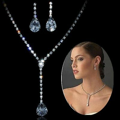 Fashion Women Wedding Jewelry Sets Bridal Crystal Necklace Earrings Set Prom New