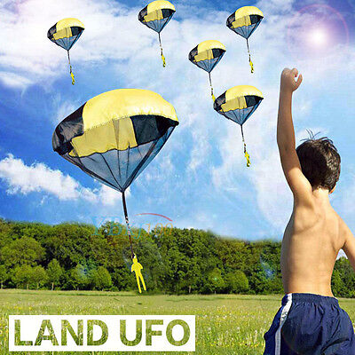 Mini Parachute Skydiver Flying Children Kids Toy Outdoor Sports Game Gift Yellow