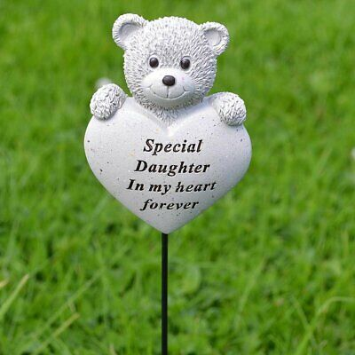 Special Daughter Teddy Bear Heart Memorial Tribute Stick Graveside Plaque