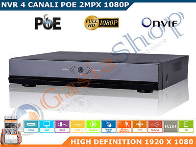 Nvr 4Ch Canali Poe Poe+ 2 Mpx Onvif Full Hd 1080P Linux System P2P Cloud
