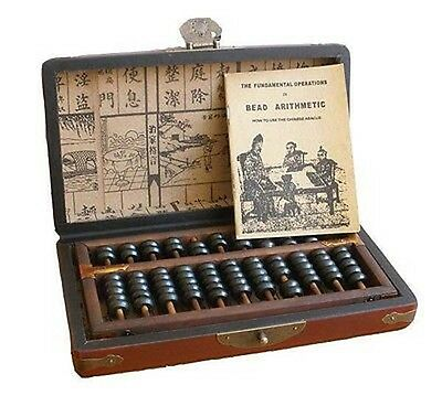 Vintage Chinese Wooden Bead Arithmetic Abacus W. Instruction