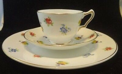 Crown Staffordshire England, Bouquet Pattern English Fine Bone China Teacup trio