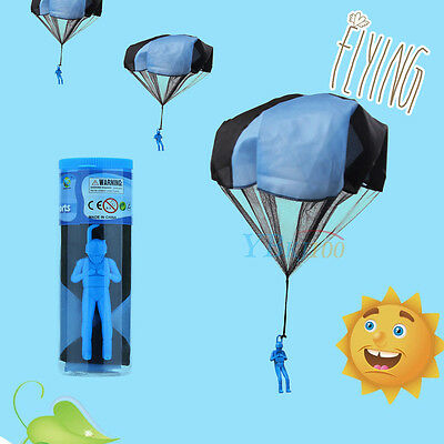 Mini Parachute Skydiver Flying Children Kids Toy Outdoor Sports Game Gift Blue