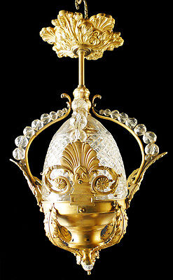 Antique French empire style bronze and cristal lantern