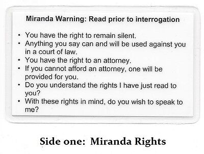 Miranda Warning (Rights) & Phonetic Alphabet Card / Sheriff / Police / Marshal