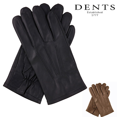 Dents Fine Leather Gloves 3 Point Stitch Fleece Lined Warm Mens Winter 75-0003