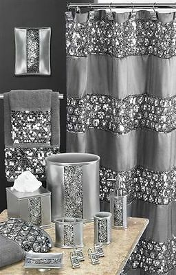 Bathroom Set Sequined Shower Accessories Curtain Soap Dish Tumbler Bath Home NEW