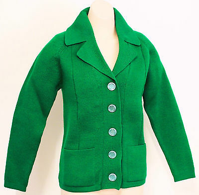 Vintage 1970s Emerald Green Cardigan Acrylic Knit Jumper Sz S M 8 10 Clothing