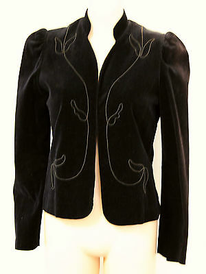 1970s ARPEL Black Velvet Jacket Blazer Sz S M 8 10 Ladies Winter Clothing Retro