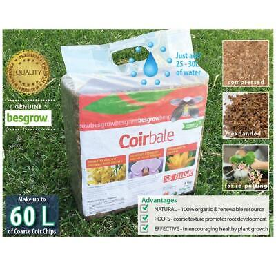 4.5kg Coir SS HUSK CHIP Besgrow® block | Makes 60L of orchid mix | Hydroponics.