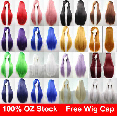 Womens 80cm Long Straight Sleek Hair Fringe Synthetic Cosplay Wig Wigs Party