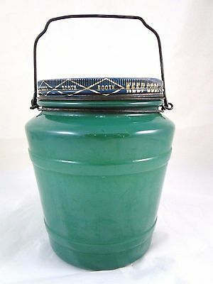 RARE Booth Herring Tidbits Old glass Jar, Metal Lid, Chicago, IL Wire Handle