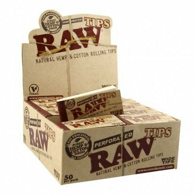 Full Box (50) of RAW Wide Filter Tips - Hemp Cotton Fibres Perforated King Size