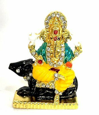 Hindu God idol / Murti /Statue /Car Idol -Coloured Ganesh with Mouse and White