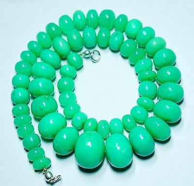 """358Cts. 17"""" 8-17 Mm Ultimate Quality Chrysoprase Smooth Rondelle Beaded Necklace"""