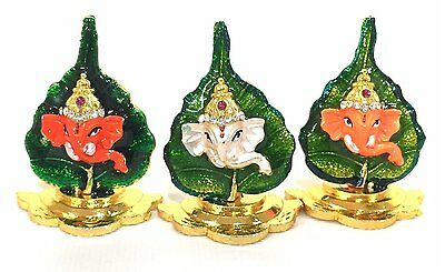Ganesh on Pan Leaf with Stand and white Stones Decoration