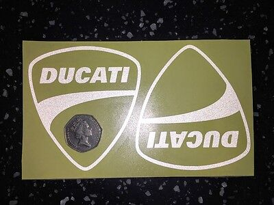 2x DUCATI Shields Reflective SAFETY Motorcycle Helmet Sticker Hi Viz graphic