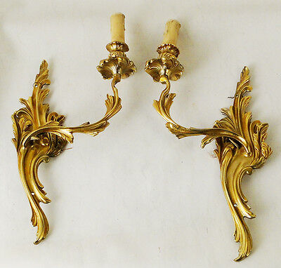Antique French Louis XV pair sconces Solid chiseled polished bronzes