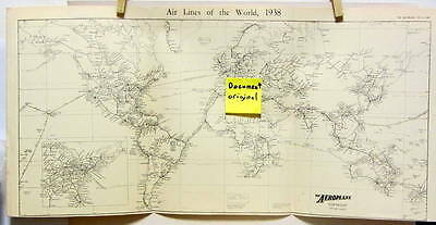 1938 Air Lines Of The World Plan Airport Avion Aviation