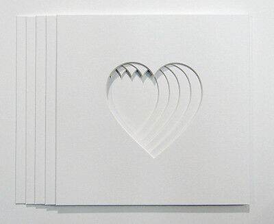"""Pack of 5 Heart Shaped Photo Mounts to Fit 8""""x8"""" frames"""