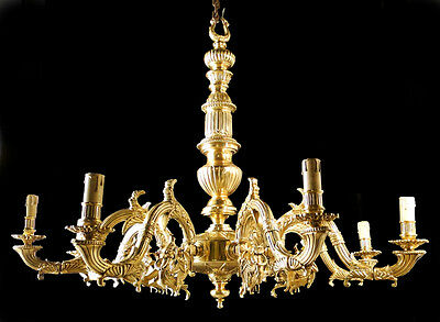 Antique French empire style chandelier Solid chiseled polished bronze 8 candles