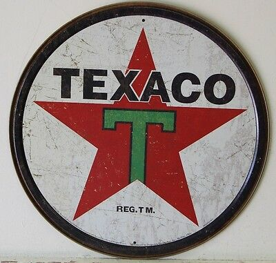TEXACO weathered aged look metal sign gas and oil gasoline service texas 1798
