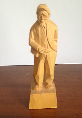 Vintage Carved Wooden Folk Art Old Man Figure, Artist Signature