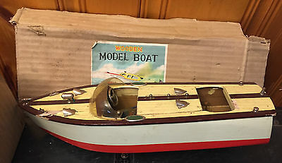 Vintage ITO Japan Wooden Model Speed Boat, Battery Operated, Rare, 1950s