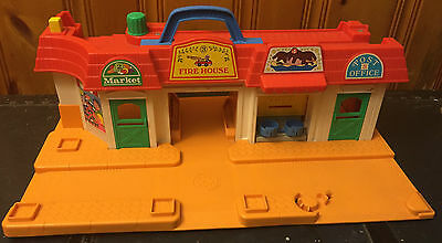 Vintage Fisher Price Little People Main Street Playset, No Accessories
