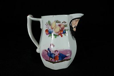 Amazing 19th c. Transfer Ware Cream Jug with Mask