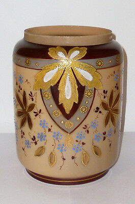 Old Cookie Jar Confectionery Dish Glass Art Nouveau Candy Box Tin Email Painting
