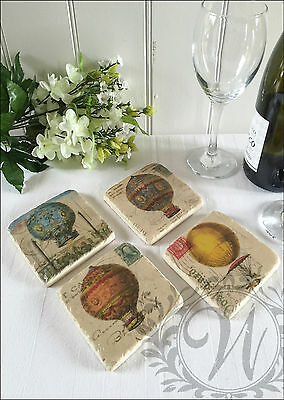 New Antique Vintage Wine Coasters Ceramic Set Of 4 Aged Gift Balloon Shabby Chic