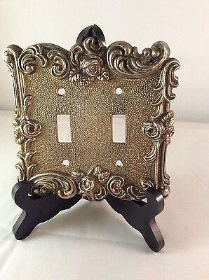 American Tack Hardware Rose Dbl Switch Plate Brass 1967