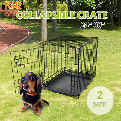 """Pawz Collapsible Metal Pet Cage Crate Kennel for Dog Cat Rabbit 24"""" 30"""" Foldable"""