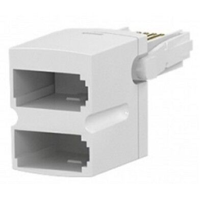 BT Telephone Phone Socket DOUBLE 2 way Adaptor Splitter commtel low profile