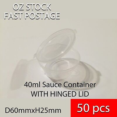 50 x 60ml 2 Oz Party Take Away Disposable Sauce Container Plastic w/ Hinged Lid