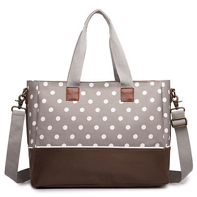 Mummy Baby Nappy Diaper Maternity Changing Bag Set Wipe Clean Polka Dots Grey