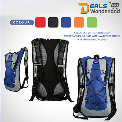2 Litre Xtelary Hydration Pack Backpack Bag With Water Bladder For Running Cycle