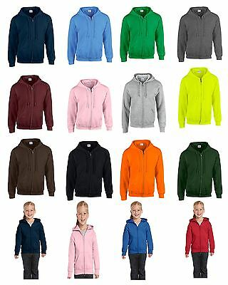 Gildan Plain New Mens Kids Zip Up Hoody Fleece Heavy Blend Zipper Hooded Jacket