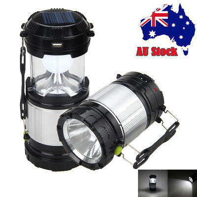 Portable Solar LED Lantern Outdoor Rechargeable Camping  Flashlight Torch Light