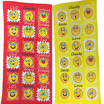 Smiley Faces Emoji 70x140cm Cotton Beach Towel Available in 2 Colours